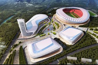 铜仁奥体中心两馆一场项目钢结构封顶