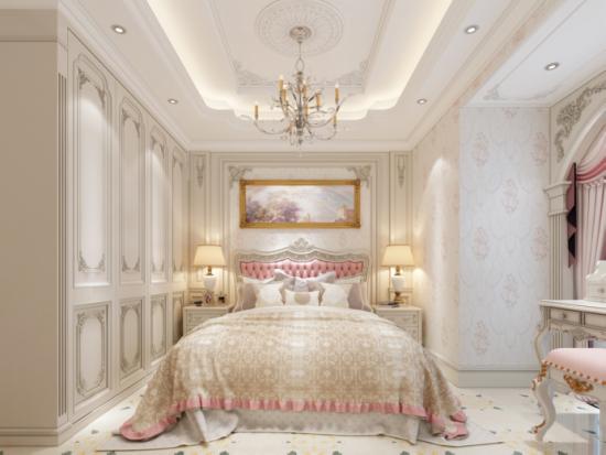 搭配淡雅花纹壁纸和活泼大理石地板,营造出一个充满欧式梦幻和浪漫