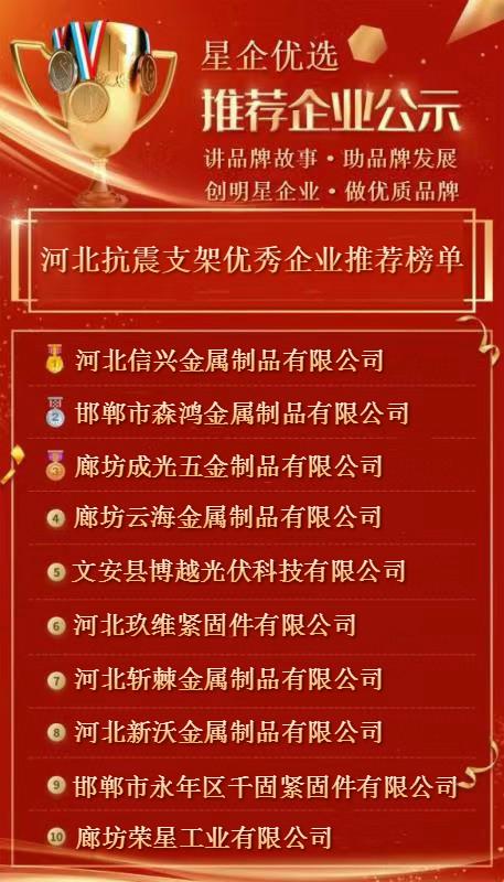 河北省抗震支架优秀企业榜单公示 丨星企优选