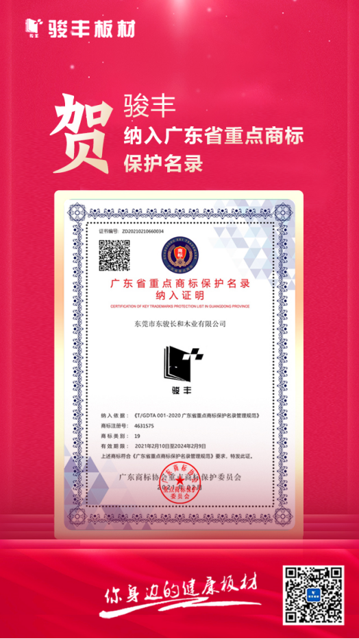 骏丰与华为、腾讯等入选首批广东省重点商标保护名录!